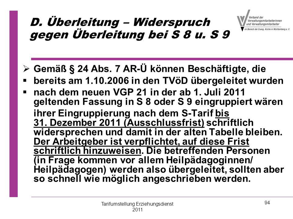 D. Überleitung – Widerspruch gegen Überleitung bei S 8 u. S 9