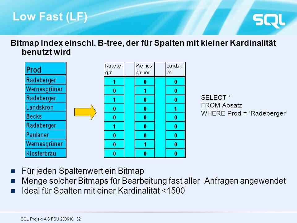 Low Fast (LF) Bitmap Index einschl. B-tree, der für Spalten mit kleiner Kardinalität benutzt wird. Für jeden Spaltenwert ein Bitmap.