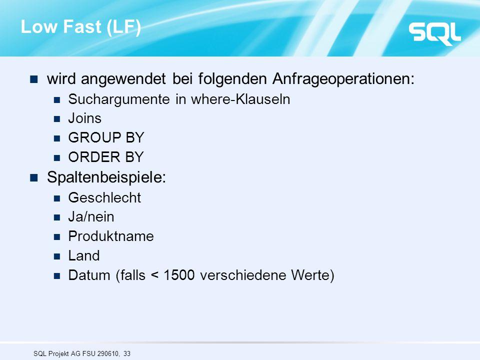 Low Fast (LF) wird angewendet bei folgenden Anfrageoperationen: