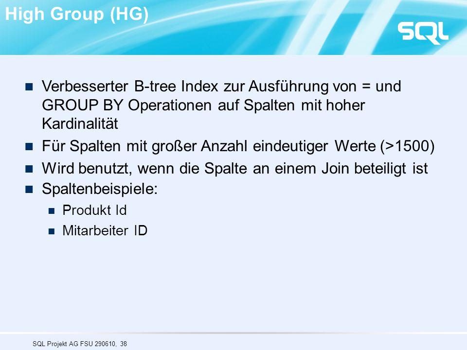 High Group (HG) Verbesserter B-tree Index zur Ausführung von = und GROUP BY Operationen auf Spalten mit hoher Kardinalität.