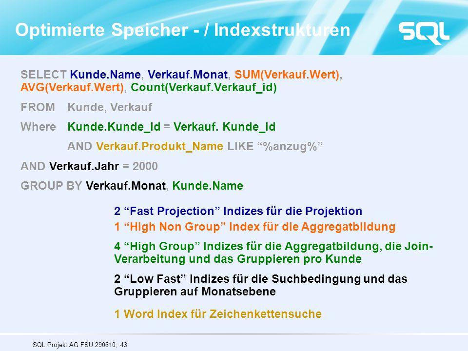 Optimierte Speicher - / Indexstrukturen