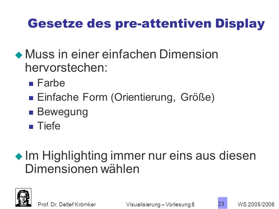 Gesetze des pre-attentiven Display