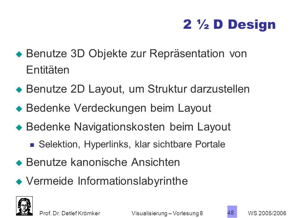 2 ½ D Design Benutze 3D Objekte zur Repräsentation von Entitäten