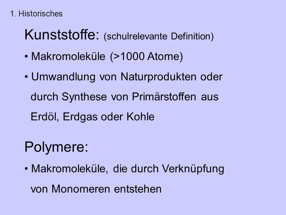 Kunststoffe: (schulrelevante Definition)