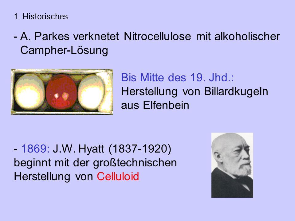A. Parkes verknetet Nitrocellulose mit alkoholischer Campher-Lösung