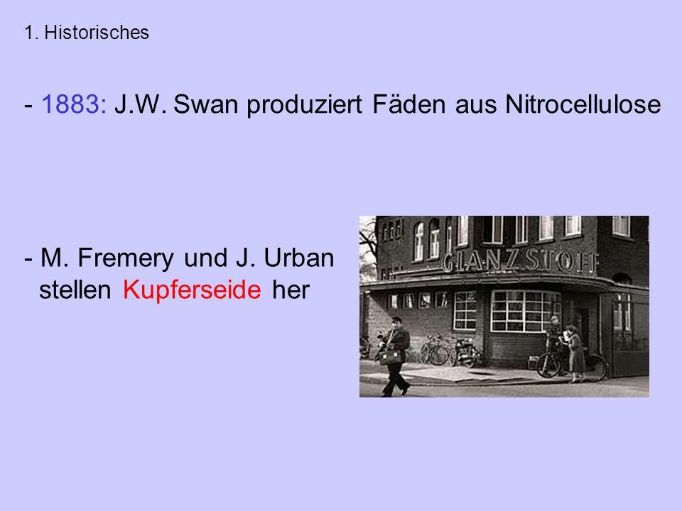 - 1883: J.W. Swan produziert Fäden aus Nitrocellulose