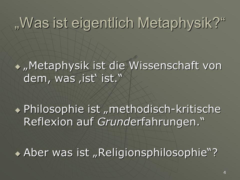 """""""Was ist eigentlich Metaphysik"""