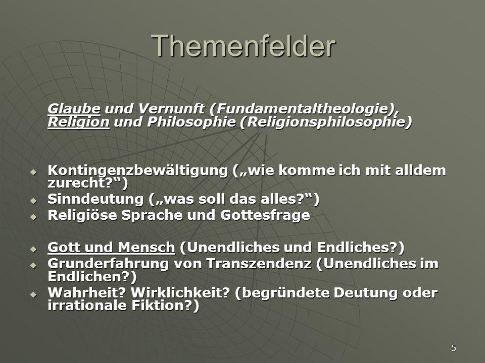 Themenfelder Glaube und Vernunft (Fundamentaltheologie), Religion und Philosophie (Religionsphilosophie)