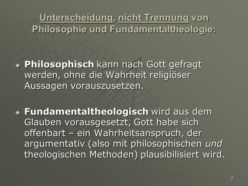Unterscheidung, nicht Trennung von Philosophie und Fundamentaltheologie: