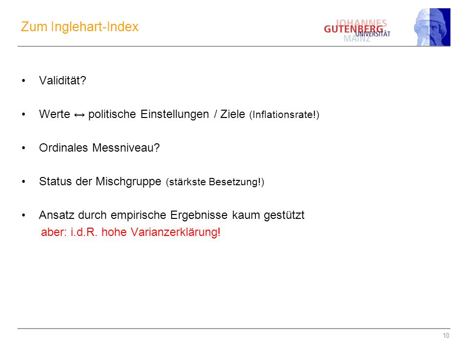 Zum Inglehart-Index Validität