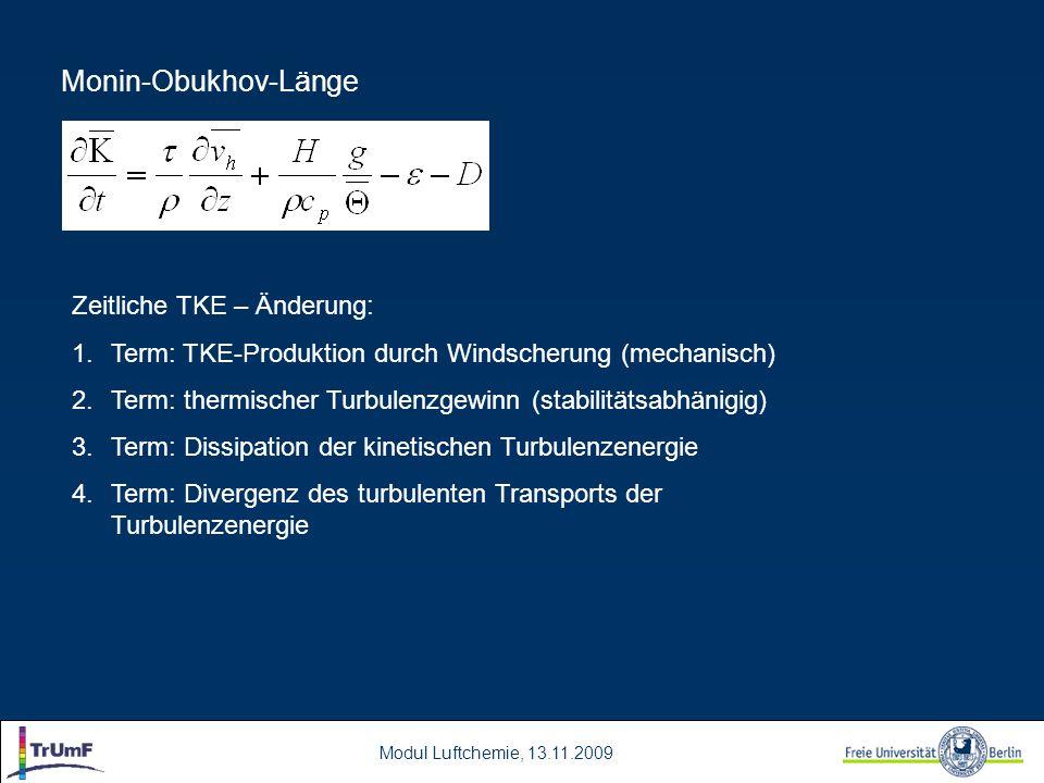 Monin-Obukhov-Länge Zeitliche TKE – Änderung: