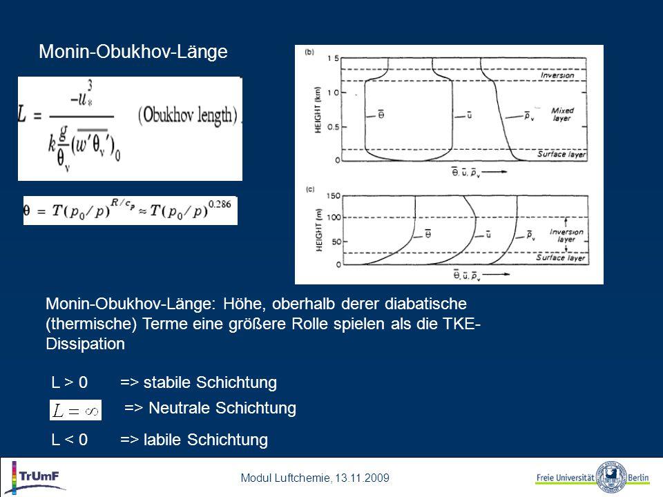 Monin-Obukhov-Länge Monin-Obukhov-Länge: Höhe, oberhalb derer diabatische (thermische) Terme eine größere Rolle spielen als die TKE-Dissipation.