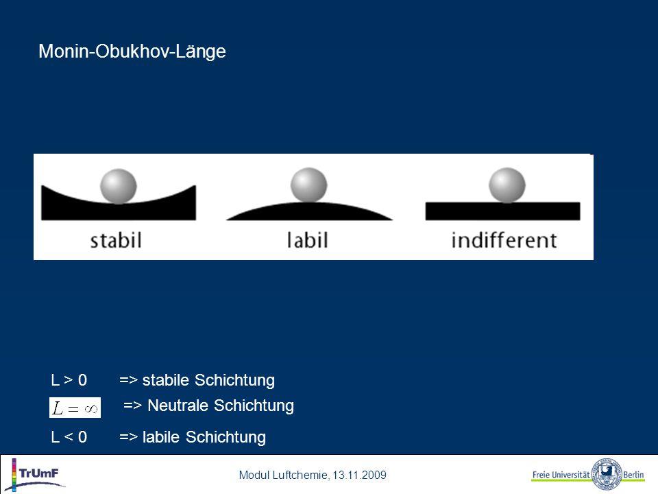 Monin-Obukhov-Länge L > 0 => stabile Schichtung