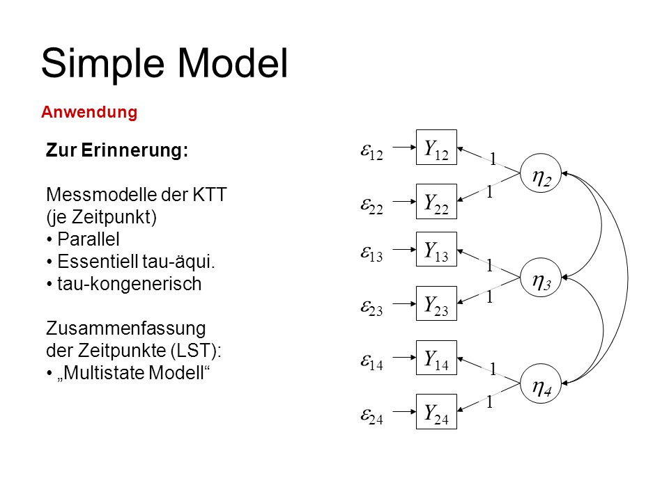 Simple Model e12 Y12 2 e22 Y22 e13 Y13 3 e23 Y23 e14 Y14 4 e24 Y24