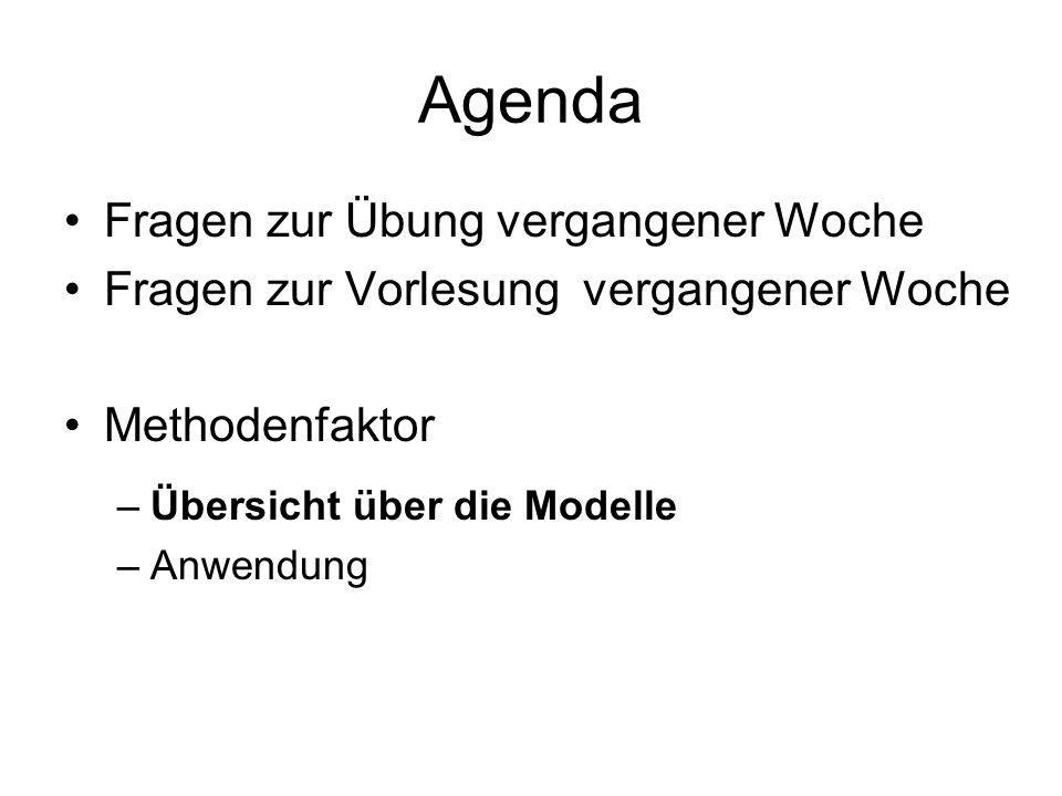 Agenda Fragen zur Übung vergangener Woche