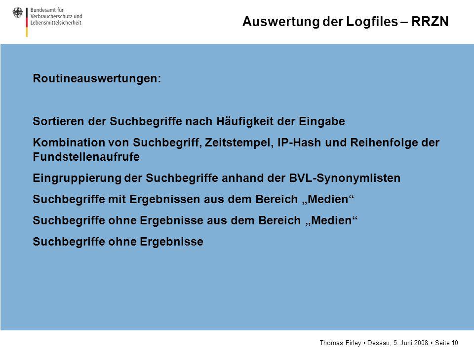 Auswertung der Logfiles – RRZN