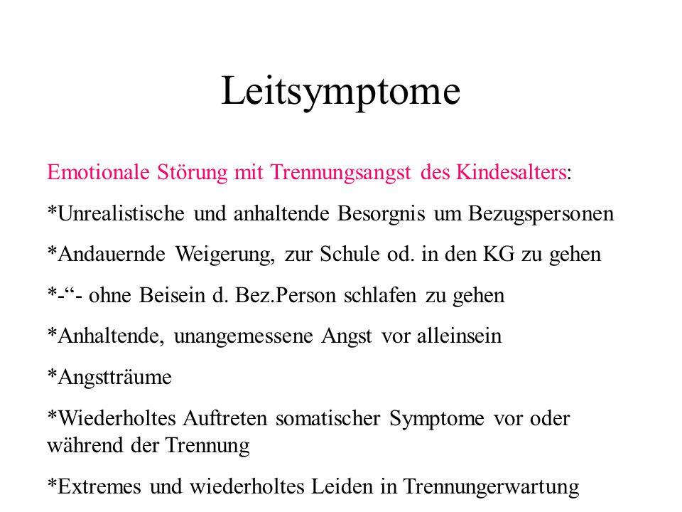 Leitsymptome Emotionale Störung mit Trennungsangst des Kindesalters: