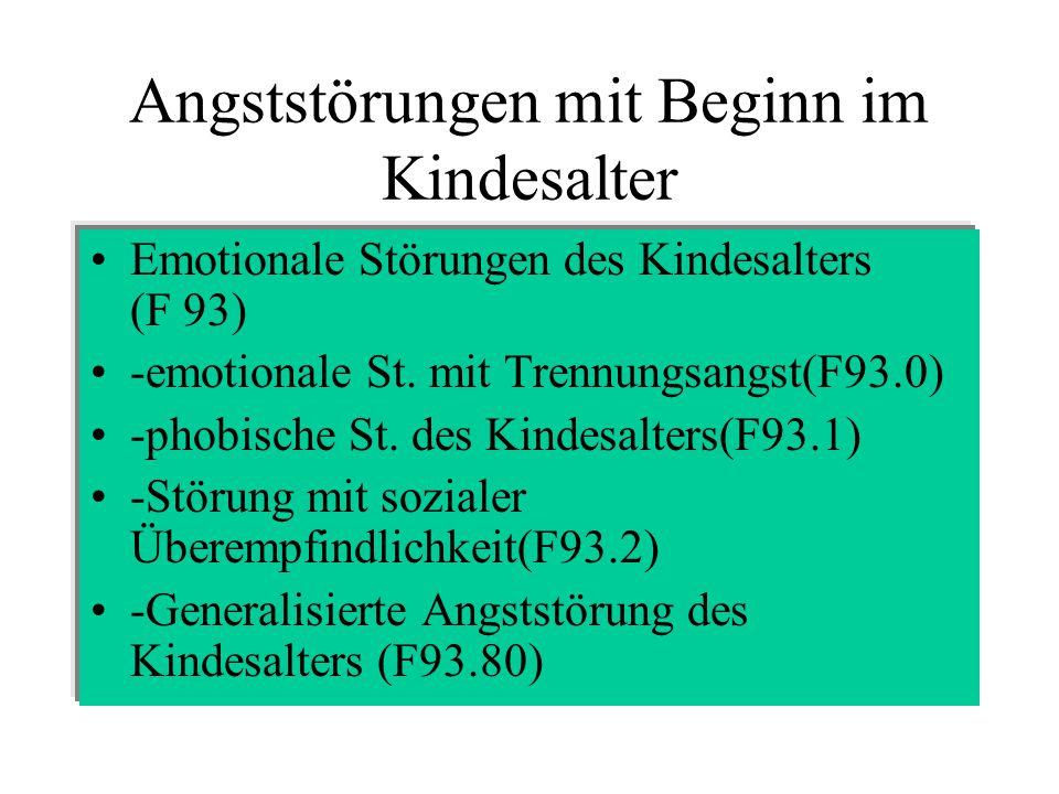 Angststörungen mit Beginn im Kindesalter