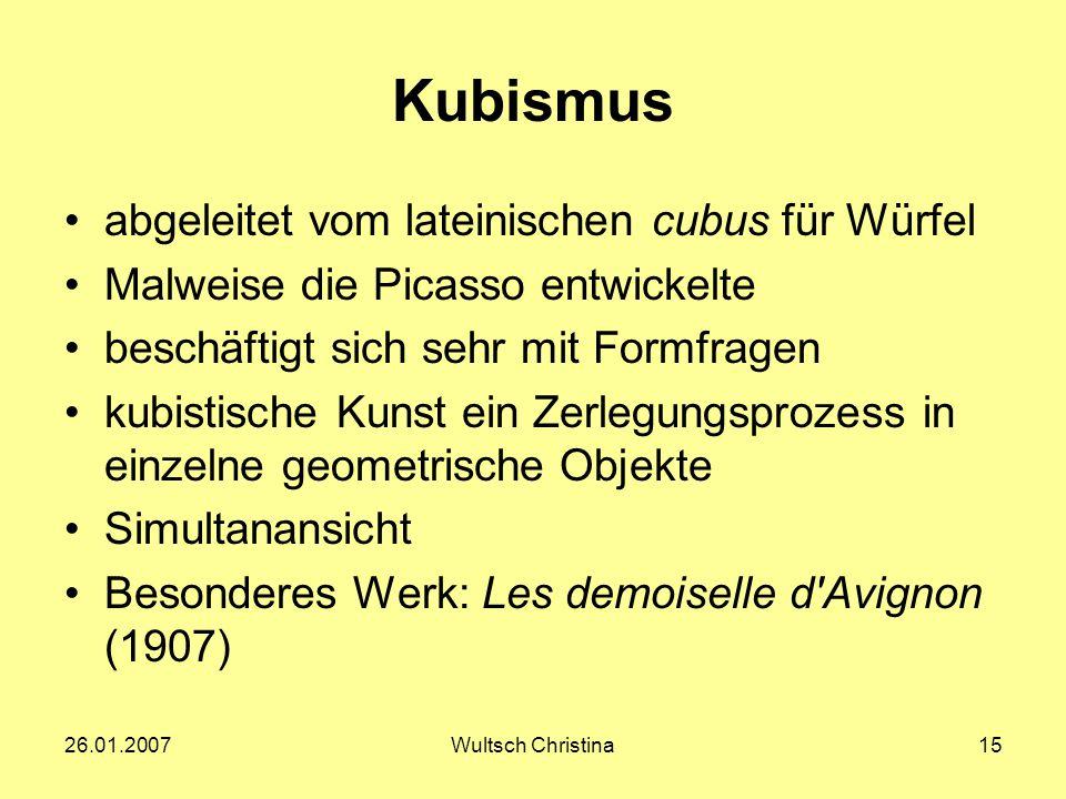 Kubismus abgeleitet vom lateinischen cubus für Würfel