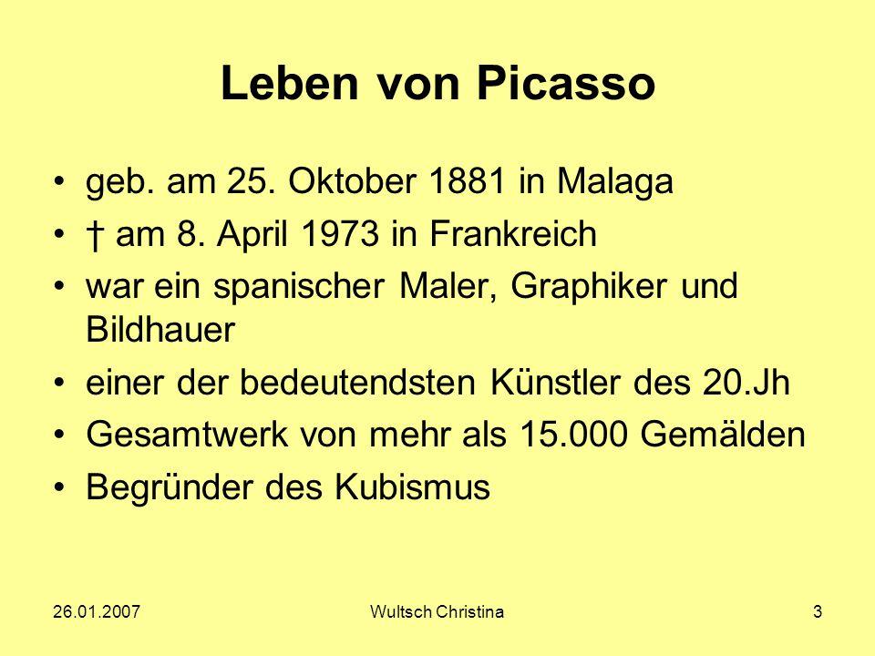 Leben von Picasso geb. am 25. Oktober 1881 in Malaga