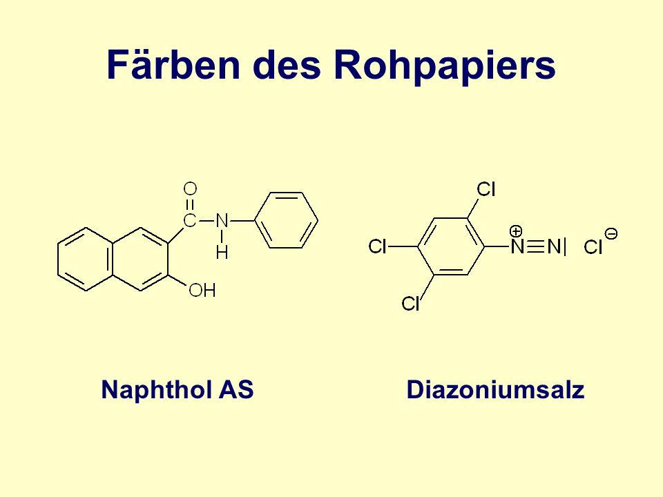 Färben des Rohpapiers Diazoniumsalz Naphthol AS