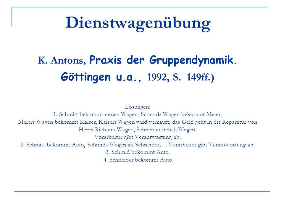 Dienstwagenübung K. Antons, Praxis der Gruppendynamik. Göttingen u. a