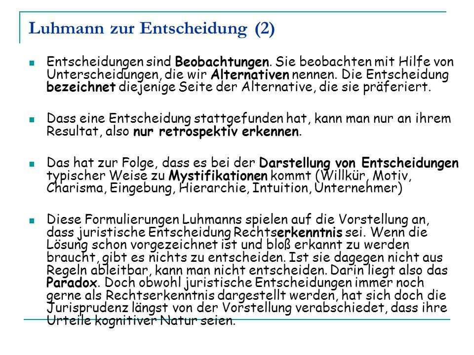 Luhmann zur Entscheidung (2)