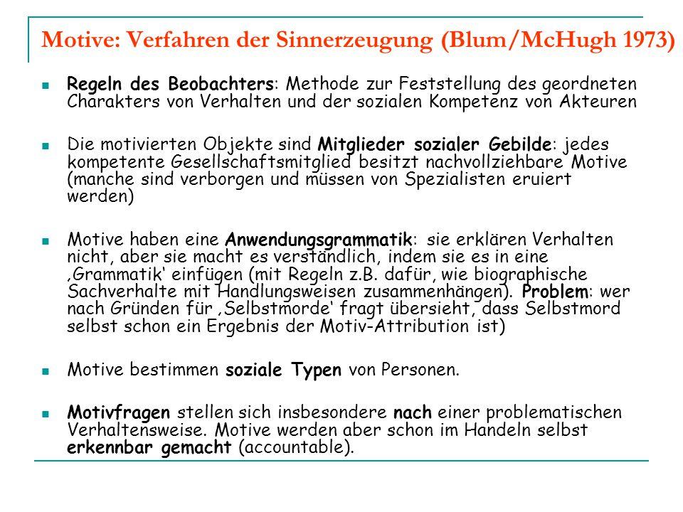 Motive: Verfahren der Sinnerzeugung (Blum/McHugh 1973)