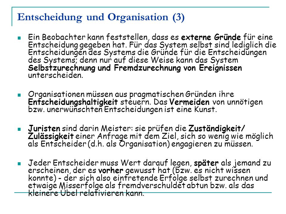 Entscheidung und Organisation (3)