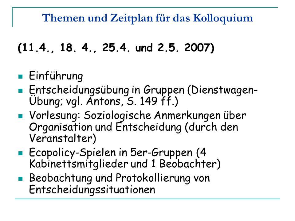 Themen und Zeitplan für das Kolloquium