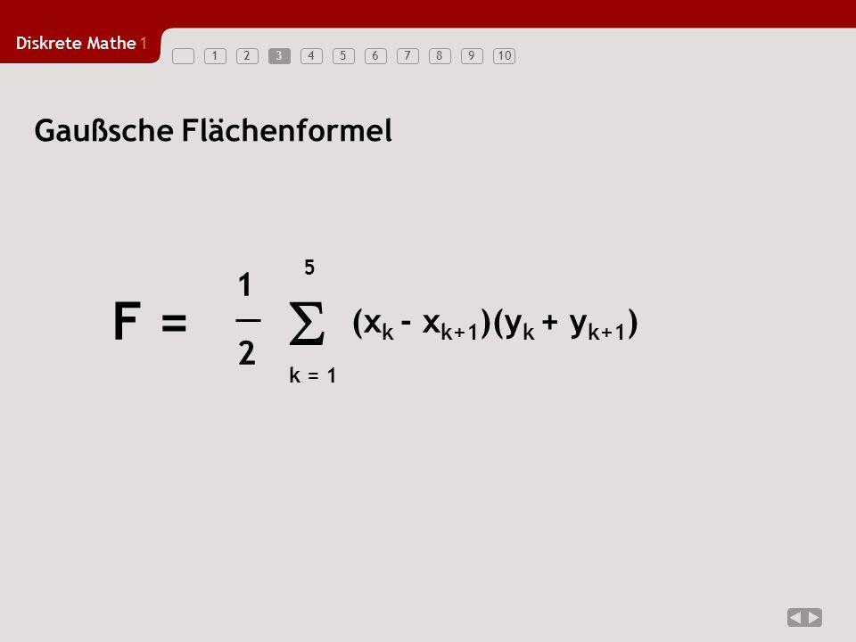 3 Gaußsche Flächenformel k = 1 5 (xk - xk+1)(yk + yk+1) F = 1 2 S