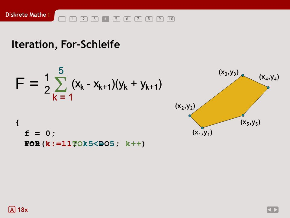 S S F = F = (xk - xk+1)(yk + yk+1) (xk - xk+1)(yk + yk+1)
