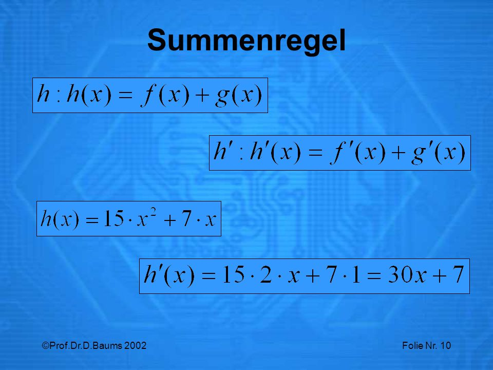 Summenregel ©Prof.Dr.D.Baums 2002