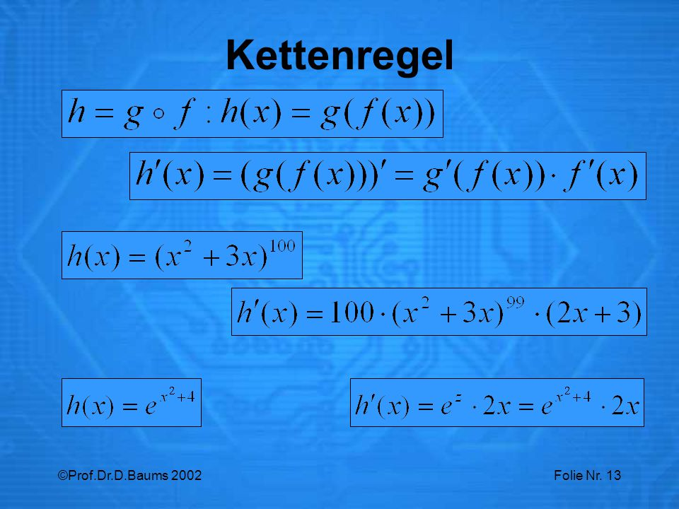 Kettenregel ©Prof.Dr.D.Baums 2002