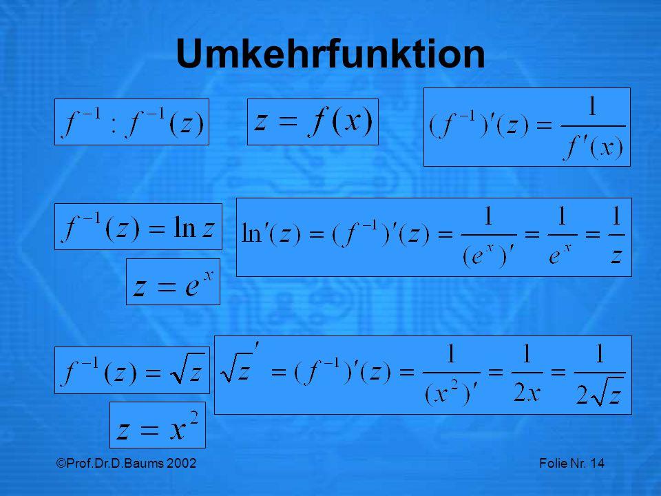 Umkehrfunktion ©Prof.Dr.D.Baums 2002