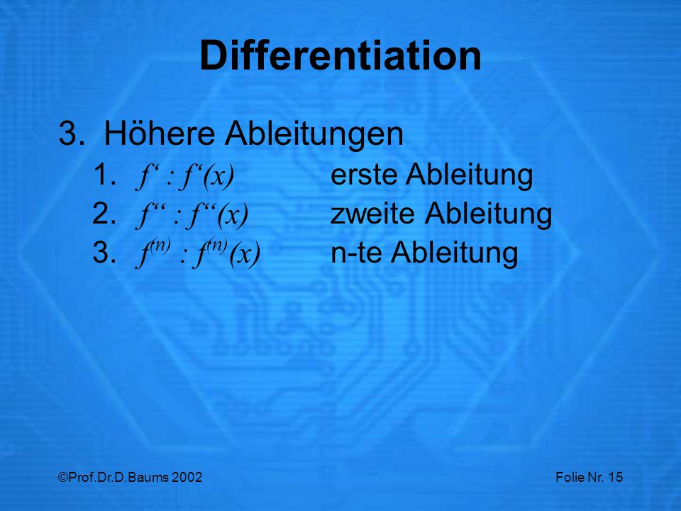 Differentiation Höhere Ableitungen f' : f'(x) erste Ableitung