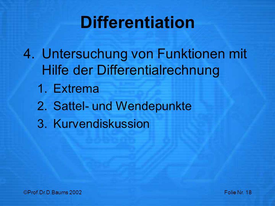 Differentiation Untersuchung von Funktionen mit Hilfe der Differentialrechnung. Extrema. Sattel- und Wendepunkte.