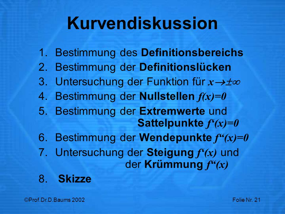 Kurvendiskussion Bestimmung des Definitionsbereichs