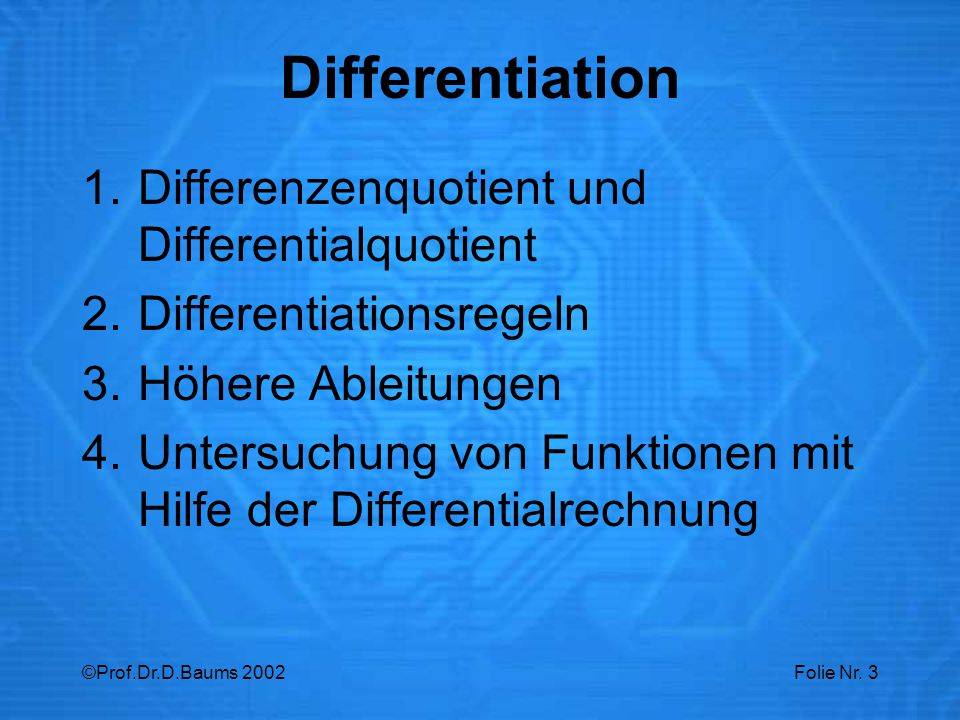 Differentiation Differenzenquotient und Differentialquotient