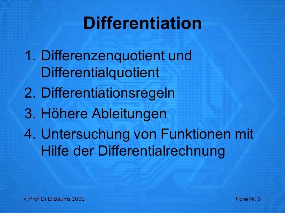 Differentiation Differenzenquotient und Differentialquotient