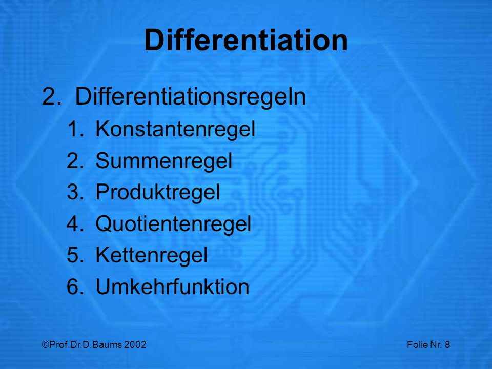 Differentiation Differentiationsregeln Konstantenregel Summenregel