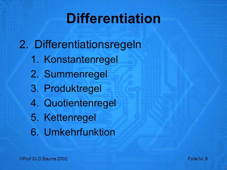 Differentiation Differentiationsregeln Konstantenregel Summenregel