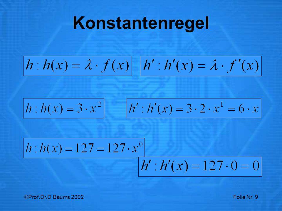 Konstantenregel ©Prof.Dr.D.Baums 2002
