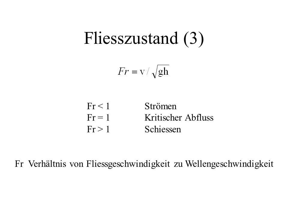 Fliesszustand (3) Fr < 1 Strömen Fr = 1 Kritischer Abfluss