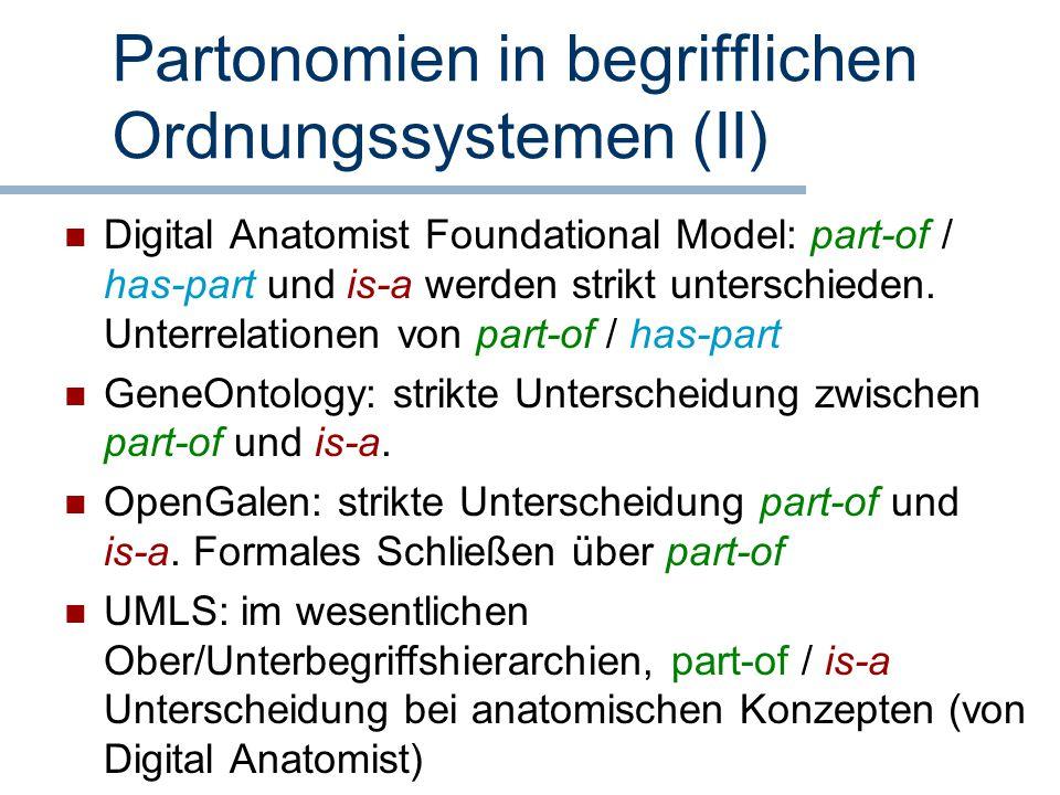 Partonomien in begrifflichen Ordnungssystemen (II)