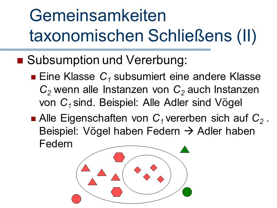 Gemeinsamkeiten taxonomischen Schließens (II)