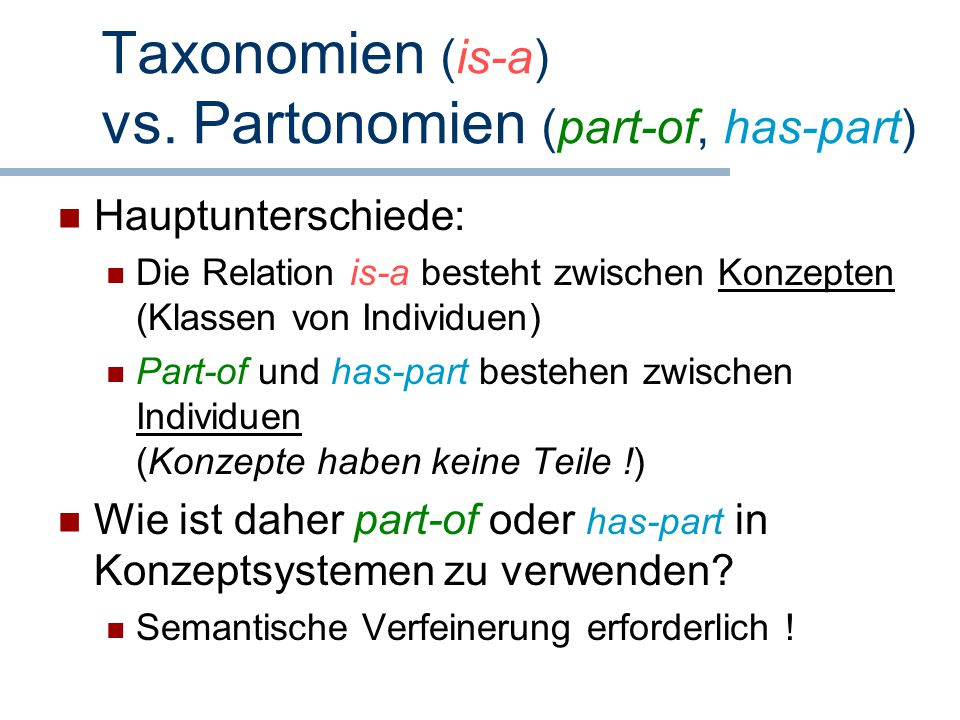 Taxonomien (is-a) vs. Partonomien (part-of, has-part)