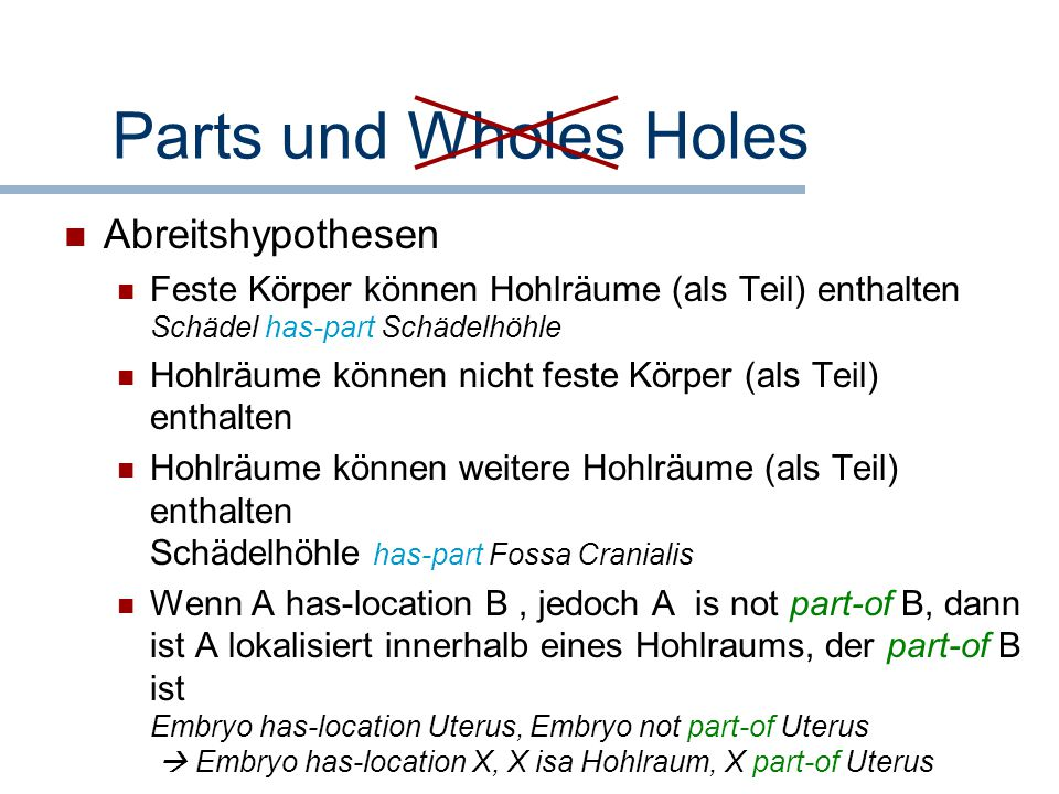 Parts und Wholes Holes Abreitshypothesen