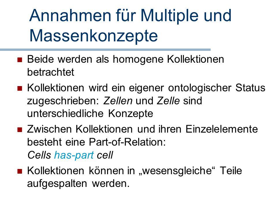 Annahmen für Multiple und Massenkonzepte