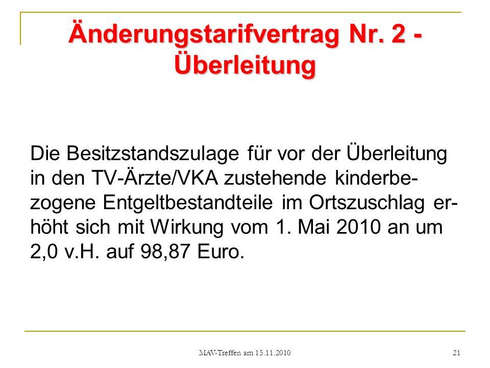 Änderungstarifvertrag Nr. 2 - Überleitung